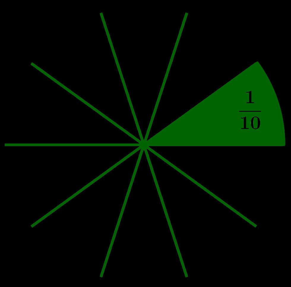 Ein Zehntel als Anteil eines Kreises