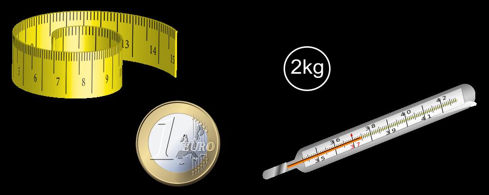 Größen und Einheiten, Maßband, Gewicht, Euromünze, Fiebermesser