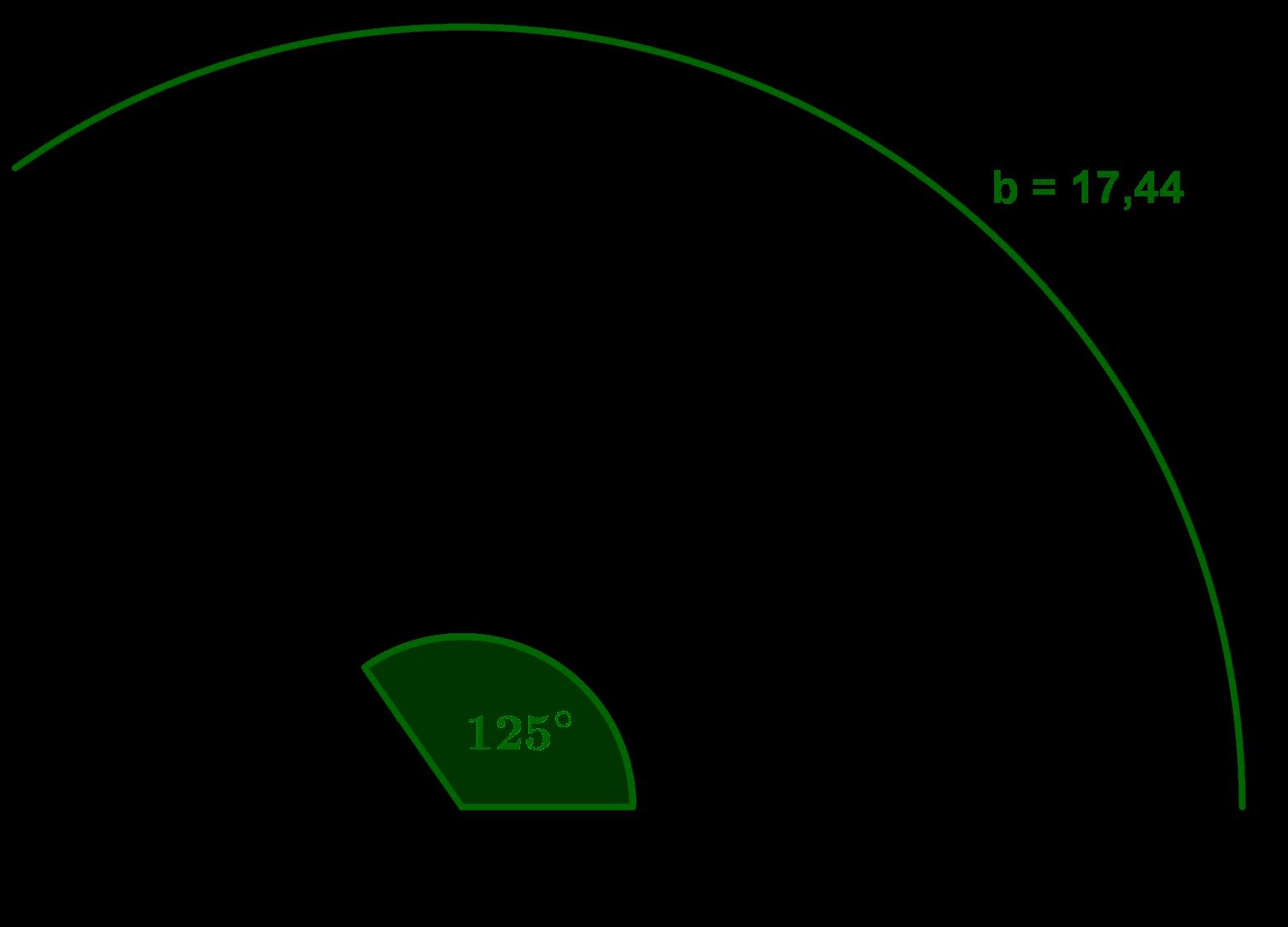 Kreissektor mit Mittelpunktswinkel und Bogenlänge