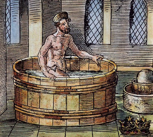 """Archimedes in der Badewanne entdeckt die Eigenschaft der Dichte. """"Heureka!"""" -- Ich hab's!"""