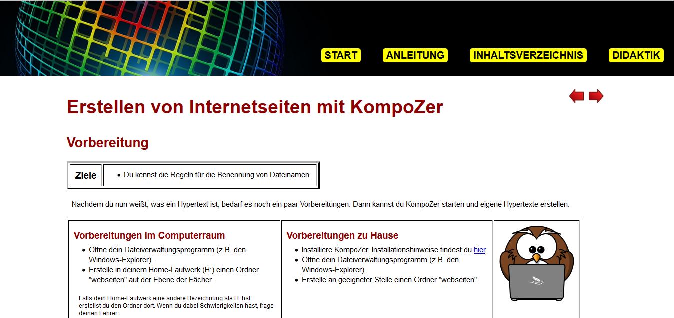 Eigene Website mit Kompozer