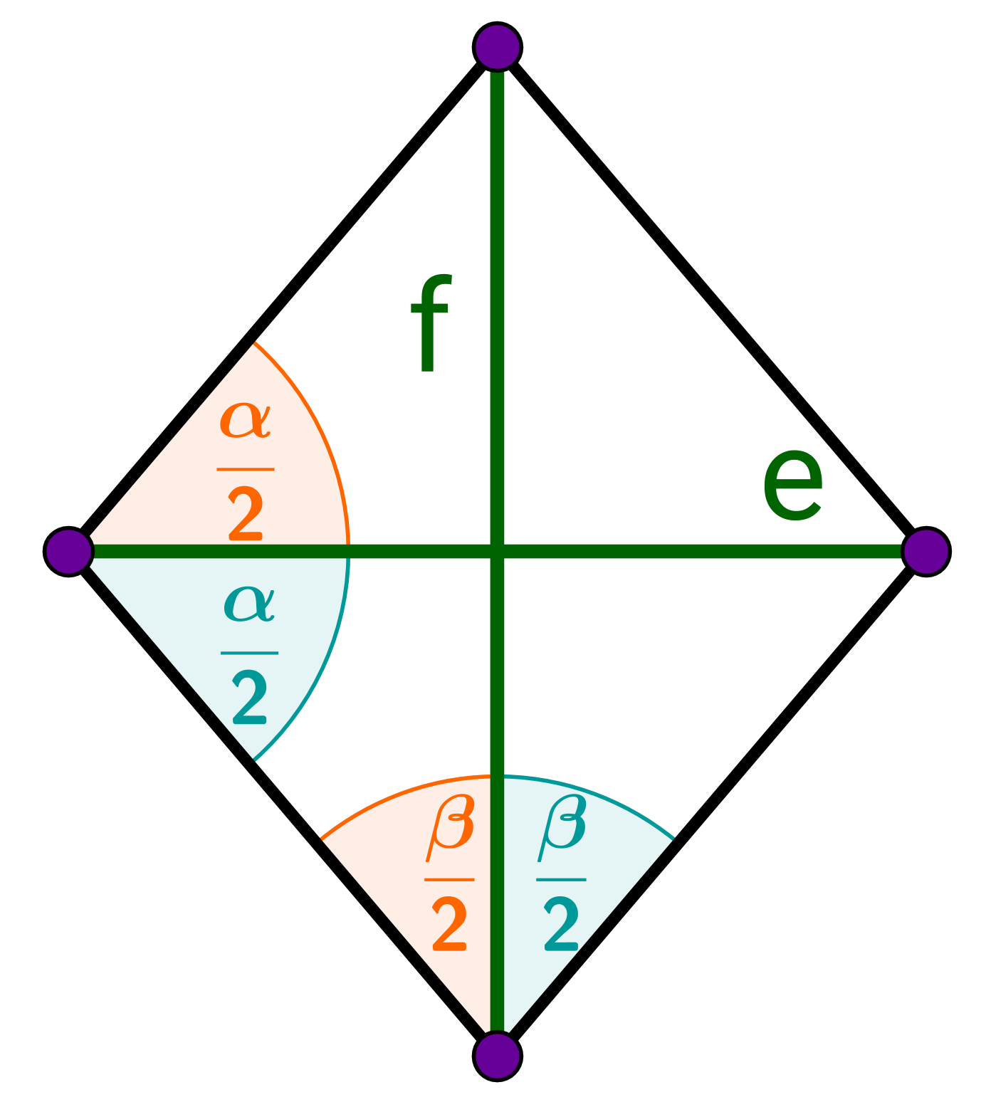 Raute, Winkel, Diagonale